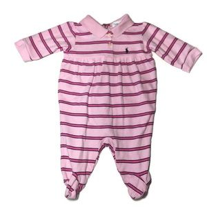 Ralph Lauren Pink Striped one piece sz 6 months